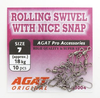 Вертлюжок с застежкой Agat Rolling swivel with Nice Snap AG-3004, #10