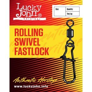 Вертлюги c застеж. Lucky John ROLLING AND FASTLOCK 012 10шт. LJ5025-012