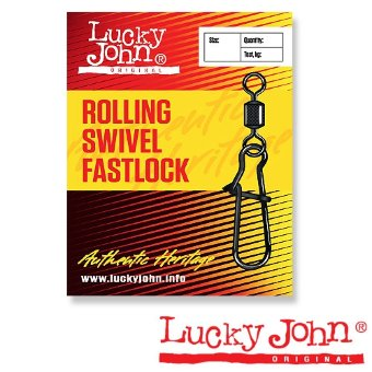 Вертлюги c застеж. Lucky John ROLLING AND FASTLOCK 014 10шт. LJ5025-014