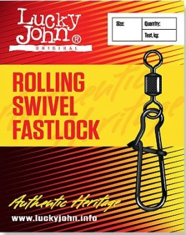 Вертлюги c застеж. Lucky John ROLLING AND FASTLOCK 002 7шт. LJ5025-002